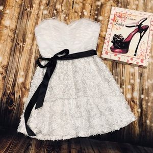 Roberta Bridal Stunning Short Dress W Black Sash